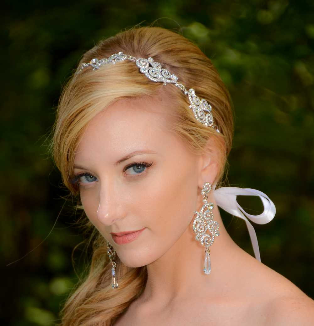 330aeafbad49 Vivian Swarovski Crystal and Cubic Zirconia Rhinestone Ribbon Bridal  Headband Headpiece