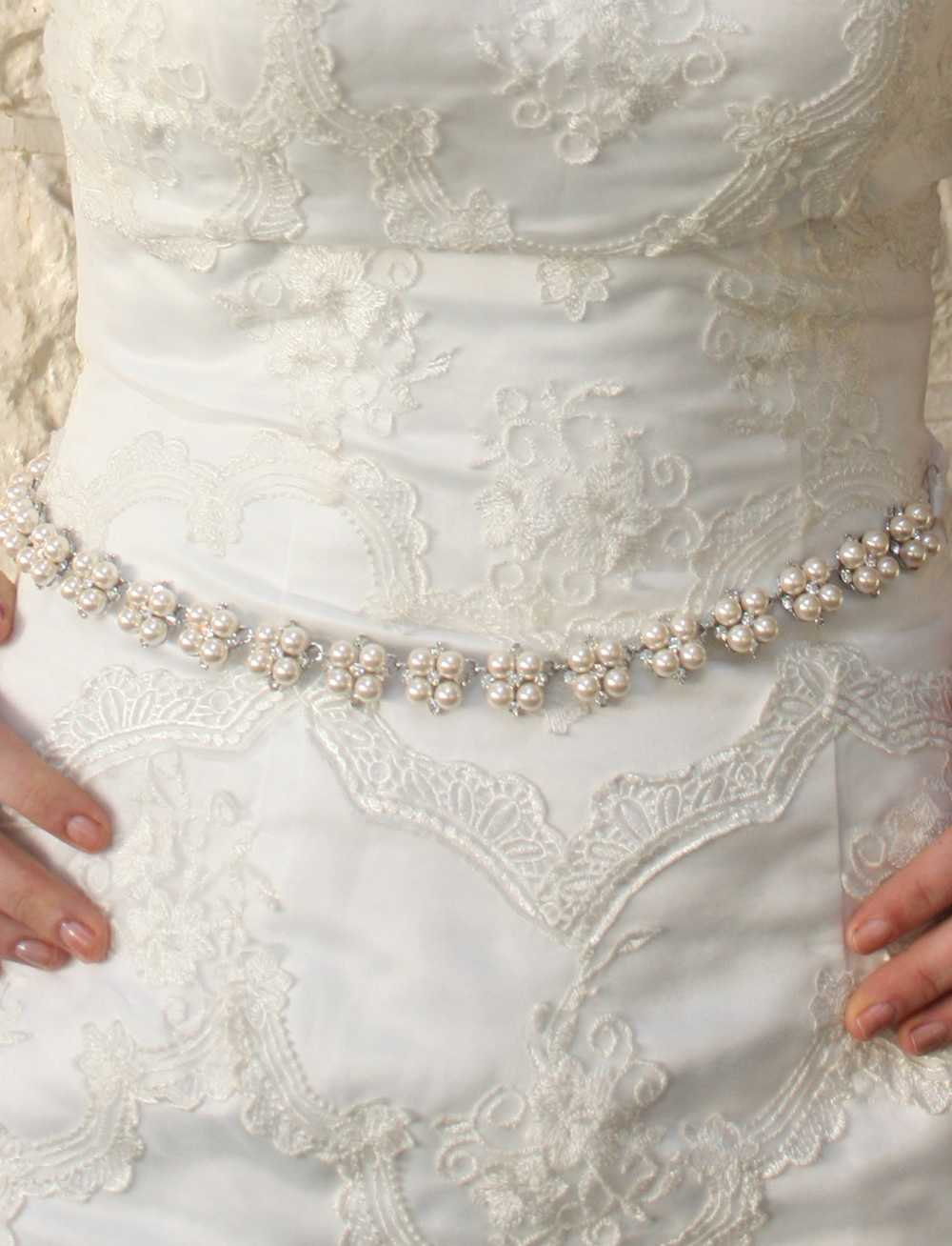 Amanda - Stunning Swarovski Crystal And Pearl Bridal Belt Sash on Luulla