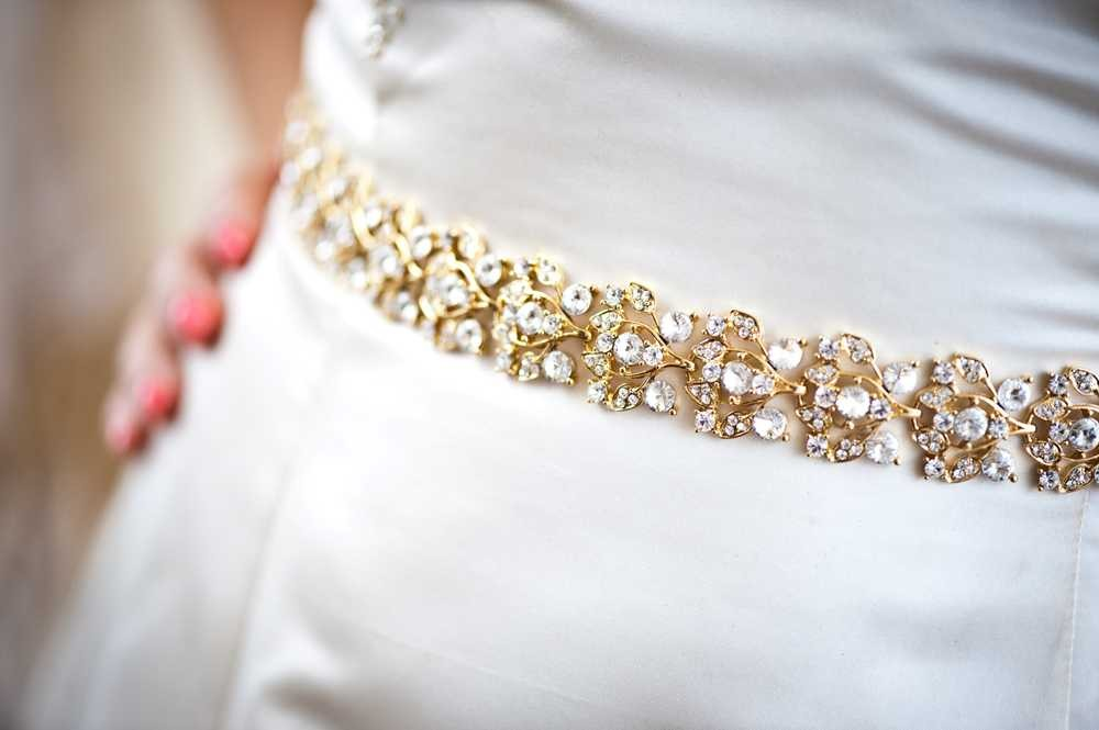 Collette - Glamourous Gold Crystal Jeweled Bridal Belt / Sash on ...