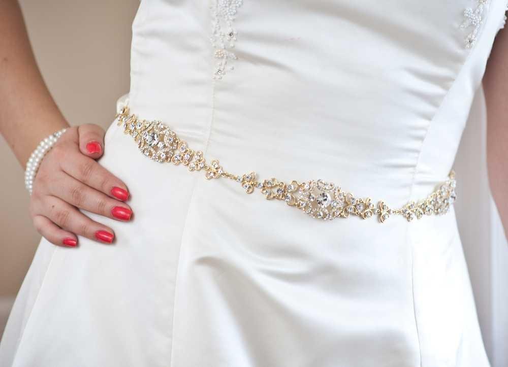 Sophia - Vintage Style Rhinestone Bridal Belt - Gold Sash