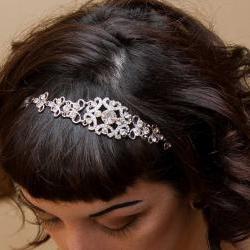 Sophia - Vintage Style Rhinestone Ribbon Headband