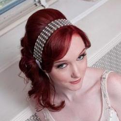 Leila - Sophisticated Silver Crystal Ribbon Headband